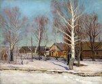 Деревня зимой (худ. М. Михайлов, 1950)