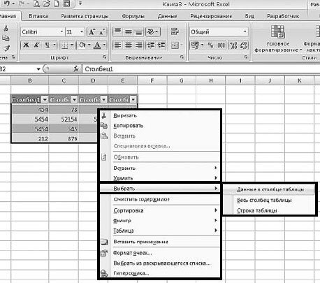 Рис. 5.13. Контекстное меню таблицы данных. Меню пункта «Выбрать»