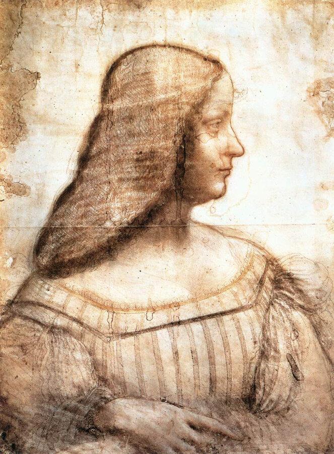 Изабелла д'Эсте, эскиз к портрету, Леонардо да Винчи