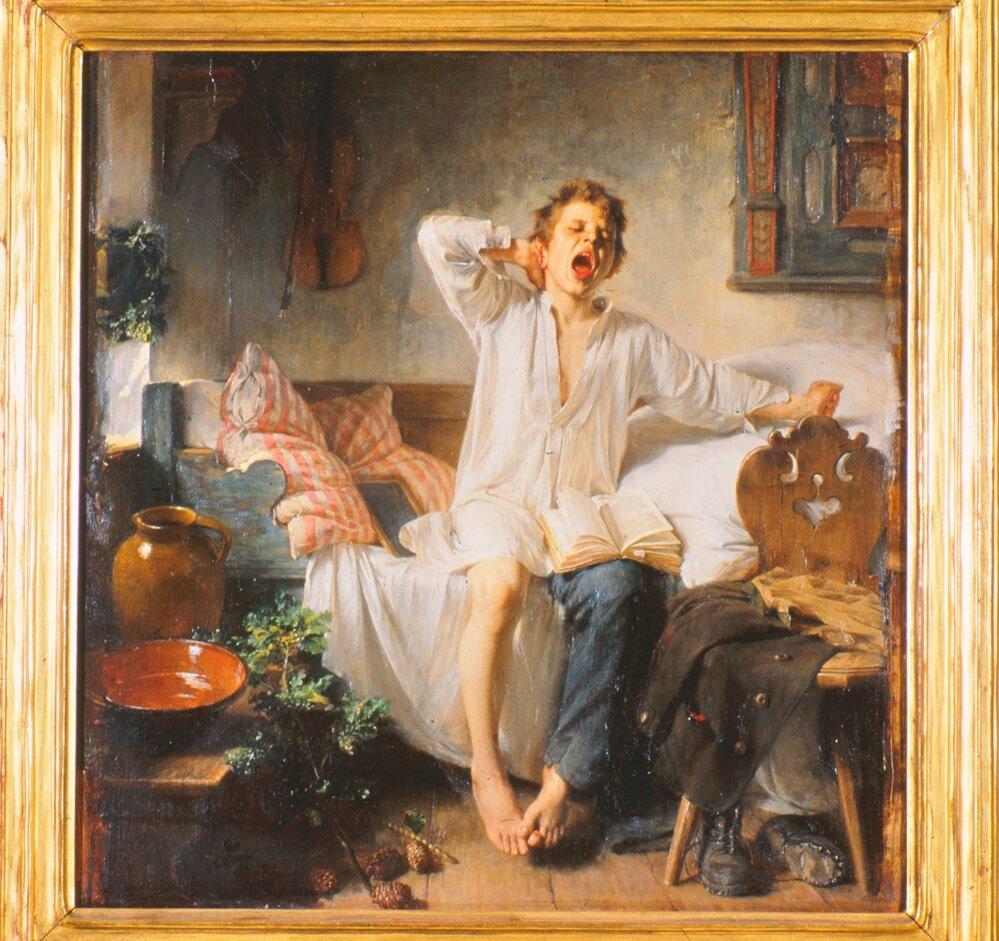 Мальчик (Панк) просыпается. 1888, автор:Тоби Эдвард Розенталь(1848 --1917) Американец работавший в Европе.Работа создана в Мюнхене, Германия