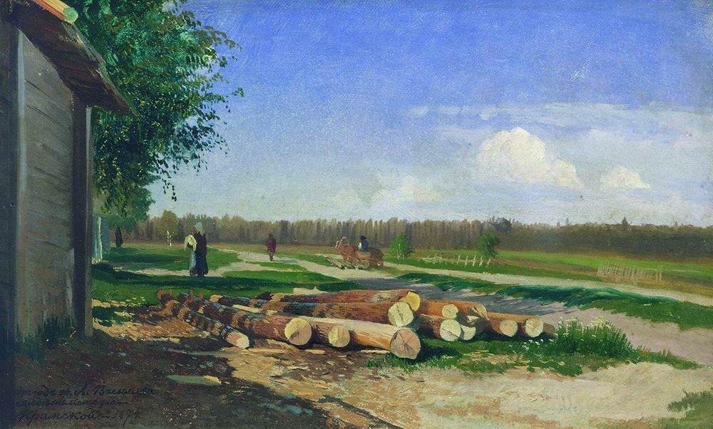 Бревна у дороги. 1867.jpg