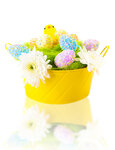 Colorful Easter eggs and chick