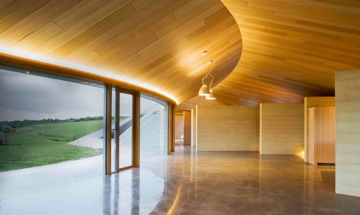 дома в штате Виктория, частные дома в Австралии, футуристичный частный дом, бетонный дом фото, одноэтажный дом, дом в форме полумесяца