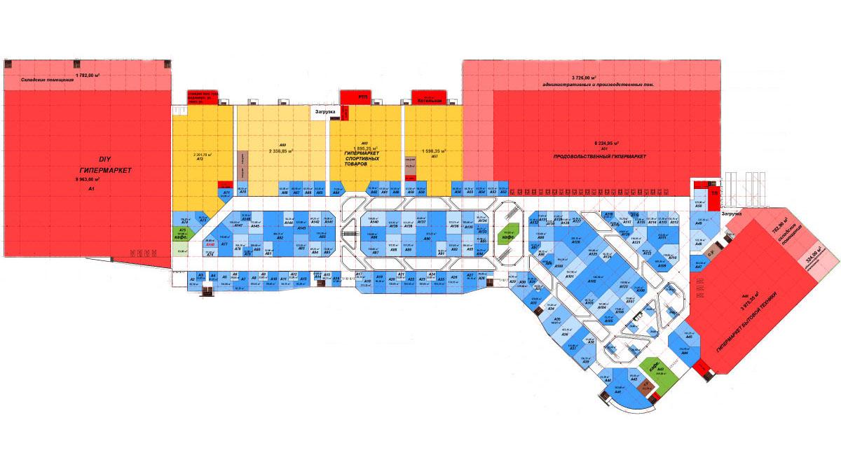 """План-схема 1-ого этажа ТРЦ  """"MAXI """" в Туле.  По плану, на 1-ом этаже ТРЦ  """"MAXI """" в Туле будут расположены гипермаркеты..."""