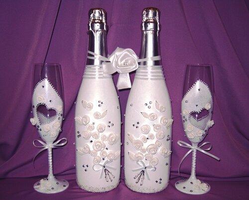 Декупаж бутылки шампанского на свадьбу своими руками