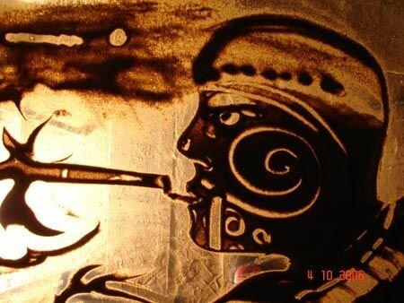 Рисунки песком на стекле
