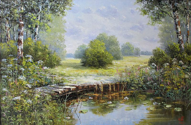 Он теряется где-то в тумане - этот мостик детства над тихой рекой. Художник Евгений Синев