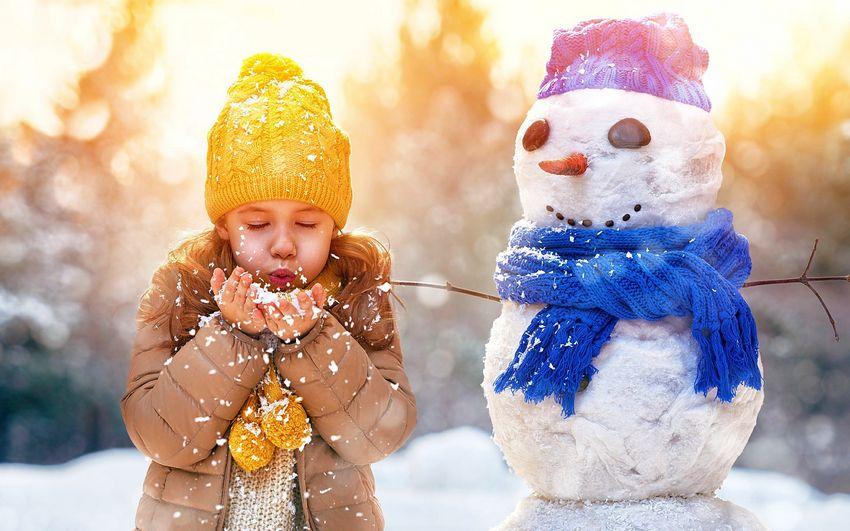 Новый год, праздник, дети, снеговик, девочка, позитив