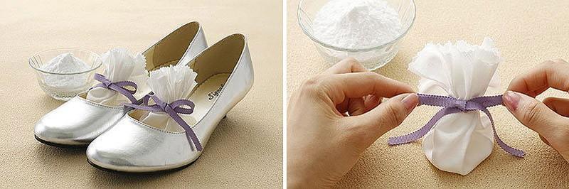 Положите в туфли пищевую соду, чтобы избавиться от неприятного запаха.