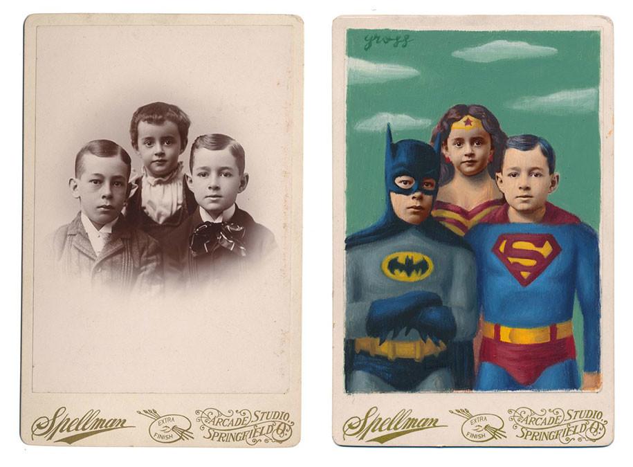 Художник превращает людей с ретрофото в персонажей комиксов и книг (19 фото)