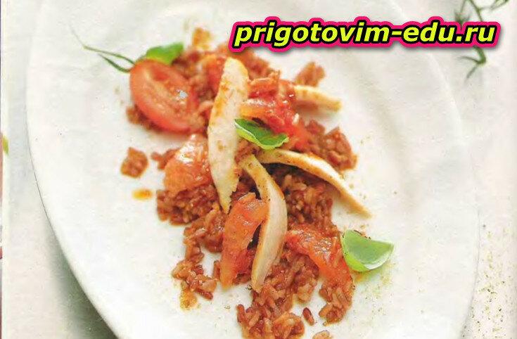 Красный рис с пастой карри