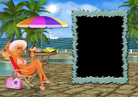 Рамка для фото с девушкой в шезлонге у бассейна