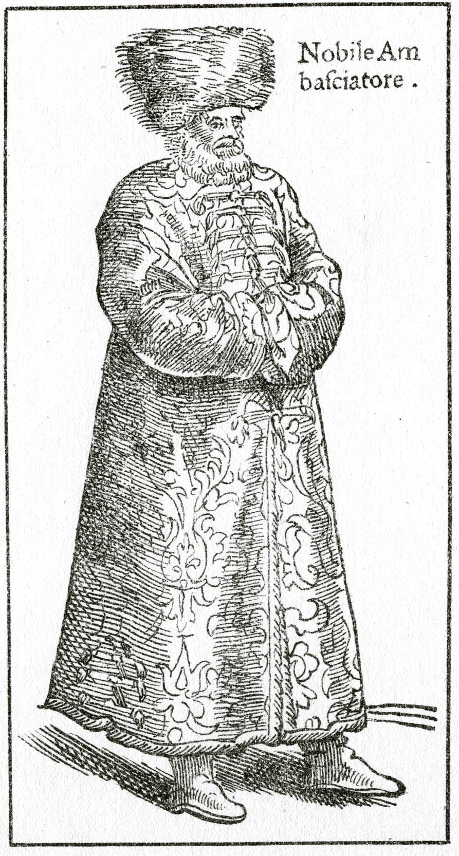 145. Посол Московитов. Гравюра из книги Чезаре Вечеллио, 1598