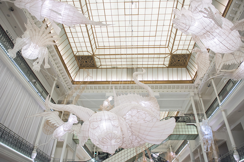 Ai Weiwei's Suspended Bamboo and Silk Beasts Highlight Ancient Chinese Mythology Inside a Paris Department Store