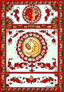 Панно-коллаж с элементами пермогорской росписи №1 (компьютерный дизайн; моя работа 2016г.)