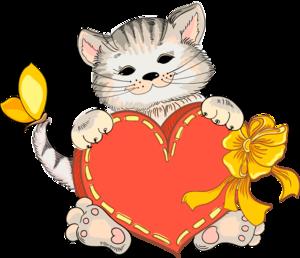 котята с сердечками