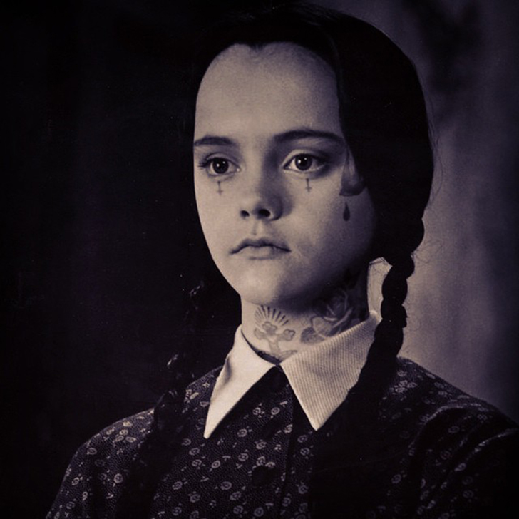 Юная Кристина Риччи в образе Венсди Аддамс.