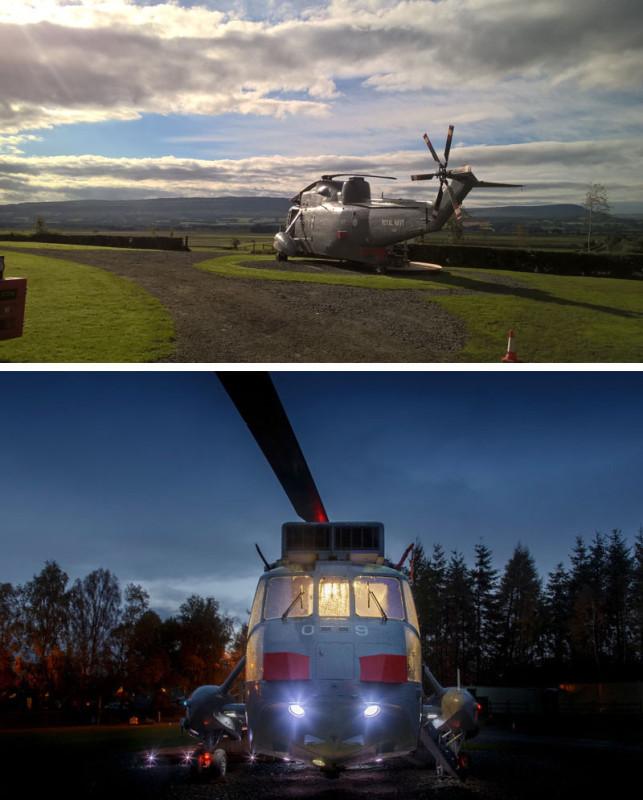 Экстерьер вертолета был обновлен, а интерьер переделан в место для ночевки.