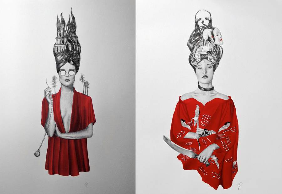 Black & Red Pencil Illustrations
