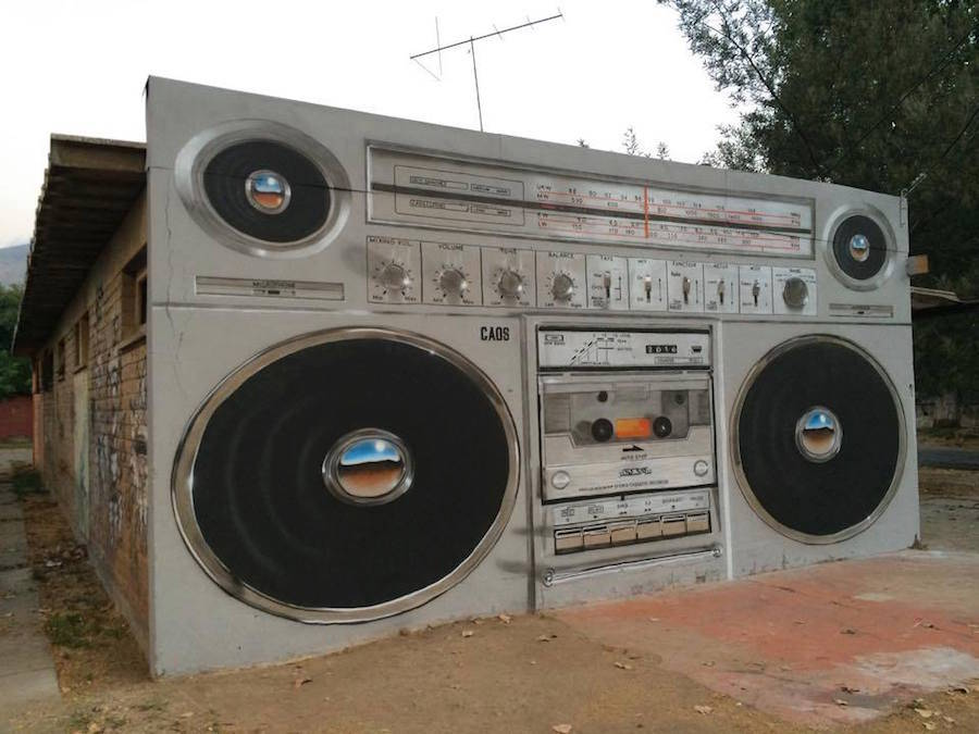Giant Boombox Mural in Chile