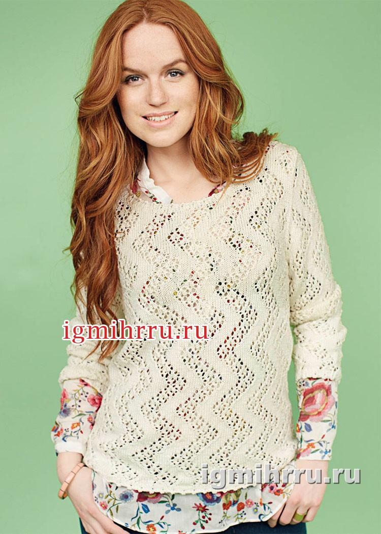Женственный стиль. Шелковый светлый пуловер с узором зигзаг. Вязание спицами