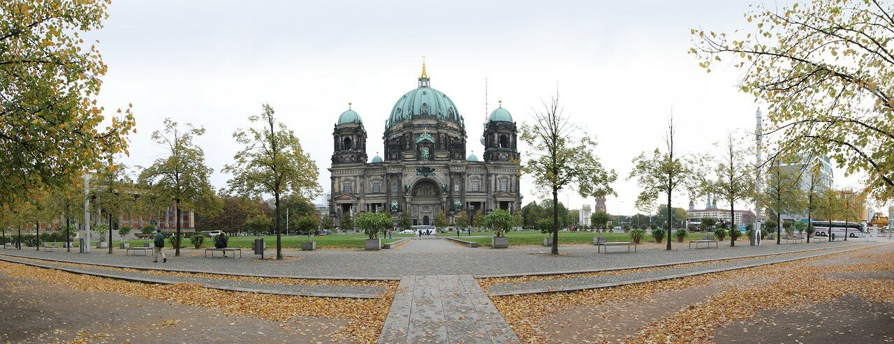 Lustgarten square in gold autumn, Berlin. Panorama