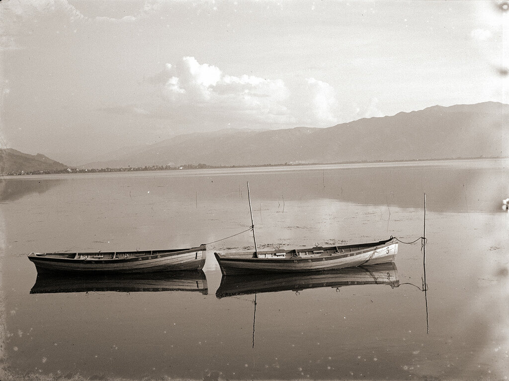 Canoes Reflecting on a Lake, 1930s Japan.