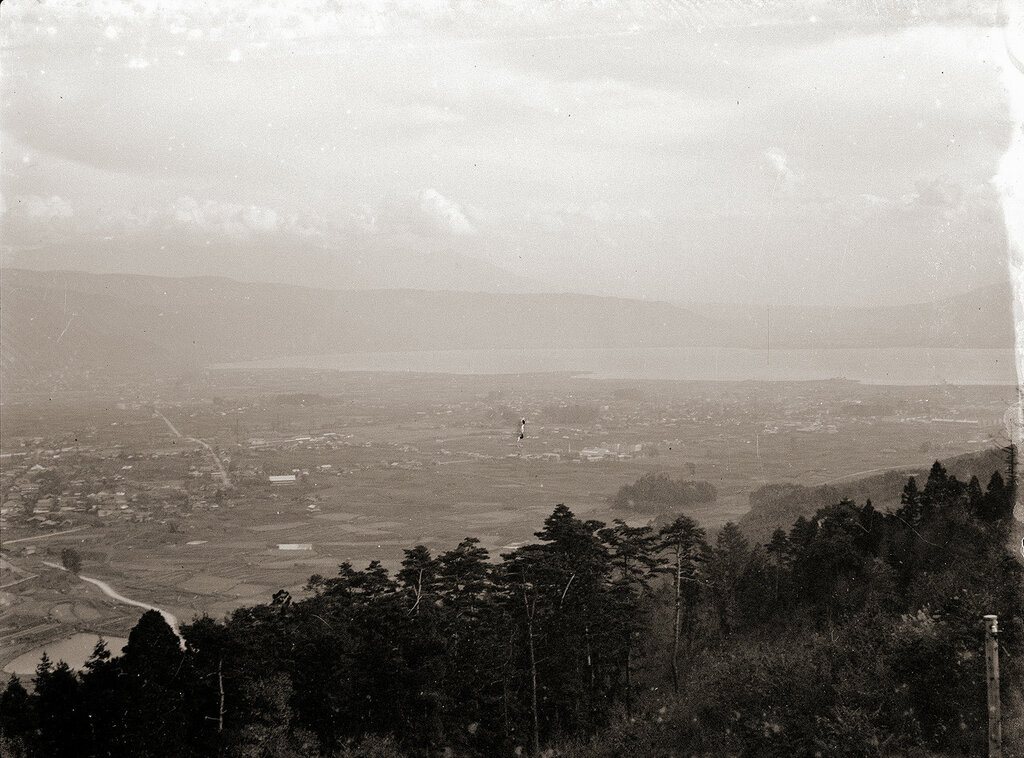 Lake Suwa viewed from Kirigamine Plateau, 1930s Japan.