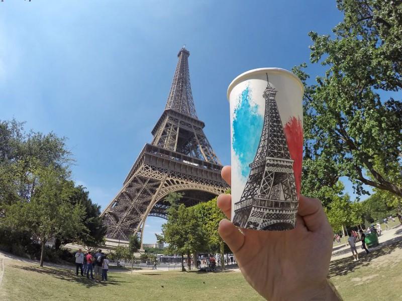 Нет искусства без стакана: путешественник расписывает кофейные стаканчики, зарабатывая на жизнь (22 фото)