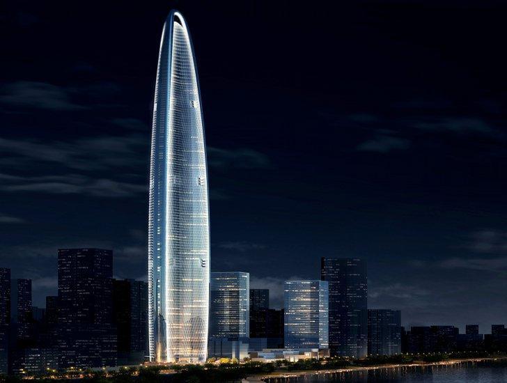 5. Wuhan Greenland Center в городе Ухань, Китай Этот 125-этажный небоскреб, высотой 636 метров, план