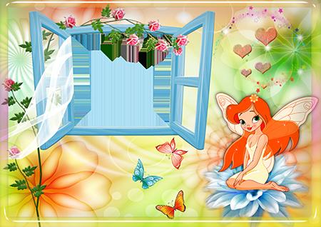 Детская рамка с девочкой-феей с рыжими волосами на синем цветке около распахнутого окошка