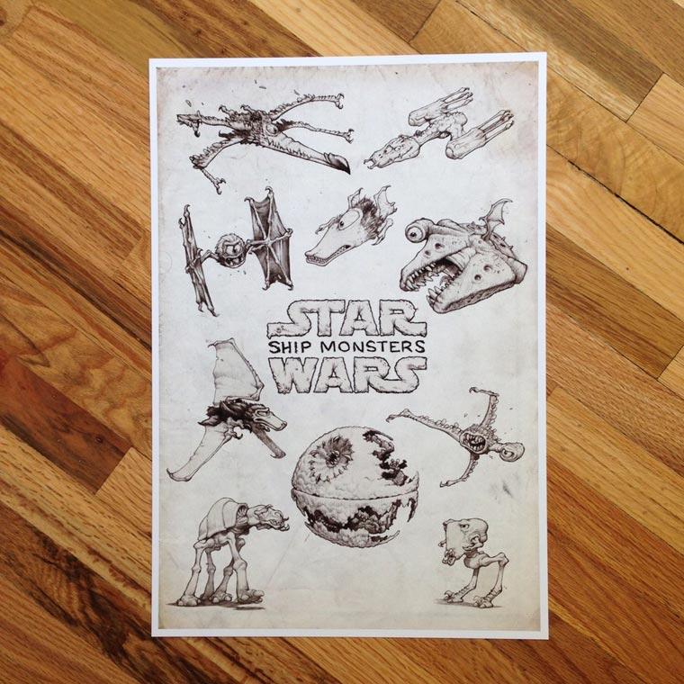 Si les celebres vaisseaux de Star Wars etaient des monstres
