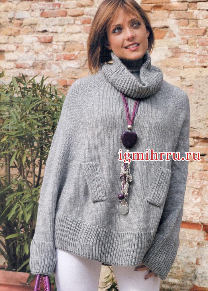 Свободный серый свитер-пончо с ложными карманами. Вязание спицами