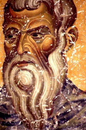 Святой Преподобный Харитон Исповедник. Фреска монастыря Св. Иоанна Богослова на острове Патмос, Греция. 1180 год.