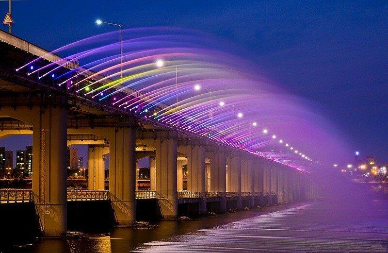 Южная Корея - Мост-фонтан Банпо в Сеуле (фото)