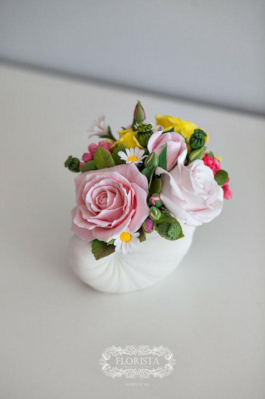Цветочный подарок из decoclay.