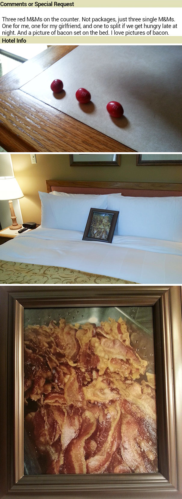 В этом отеле уделяют внимание даже самым мелким пожеланиям клиентов. Просьба гласит: «Три красных ко