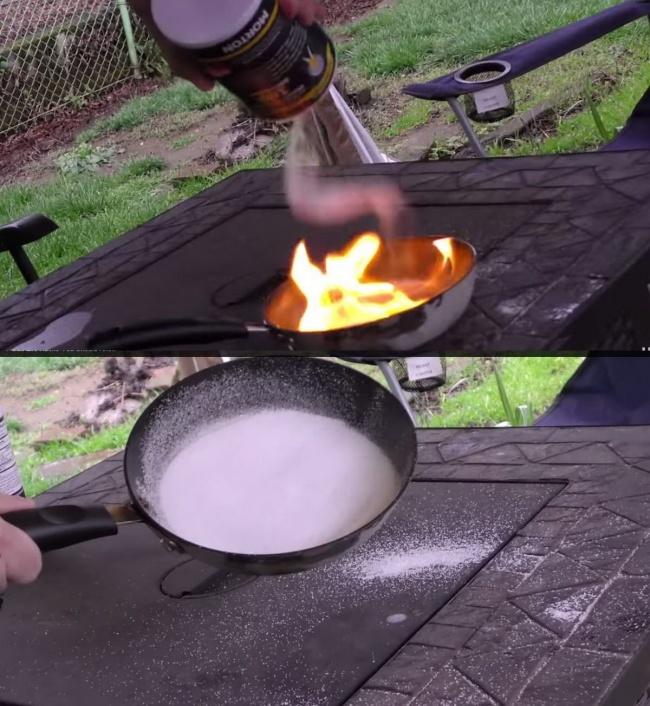 © justcoolidea  Если увас накухне что-то загорится, огонь легко можно будет потушить, засыпа