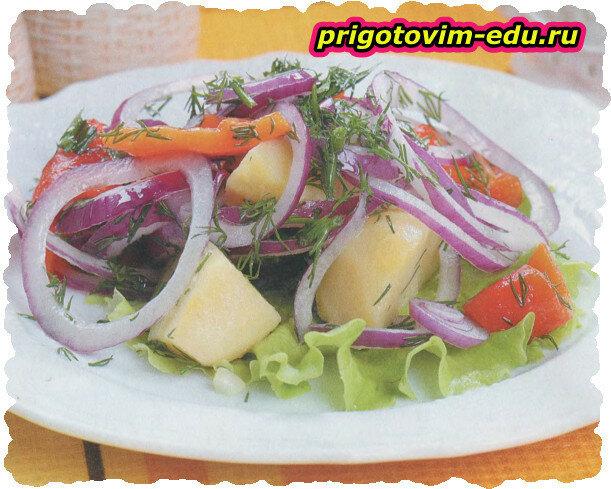 Картофельный салат с консервированным перцем