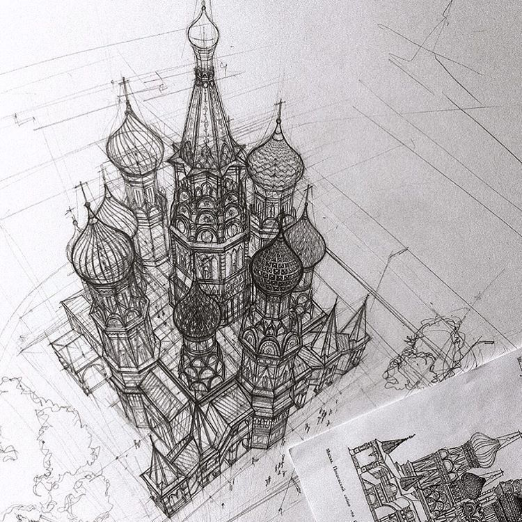 Hand Drawn Architectural Sketches by Adelina Gareeva (9 pics)