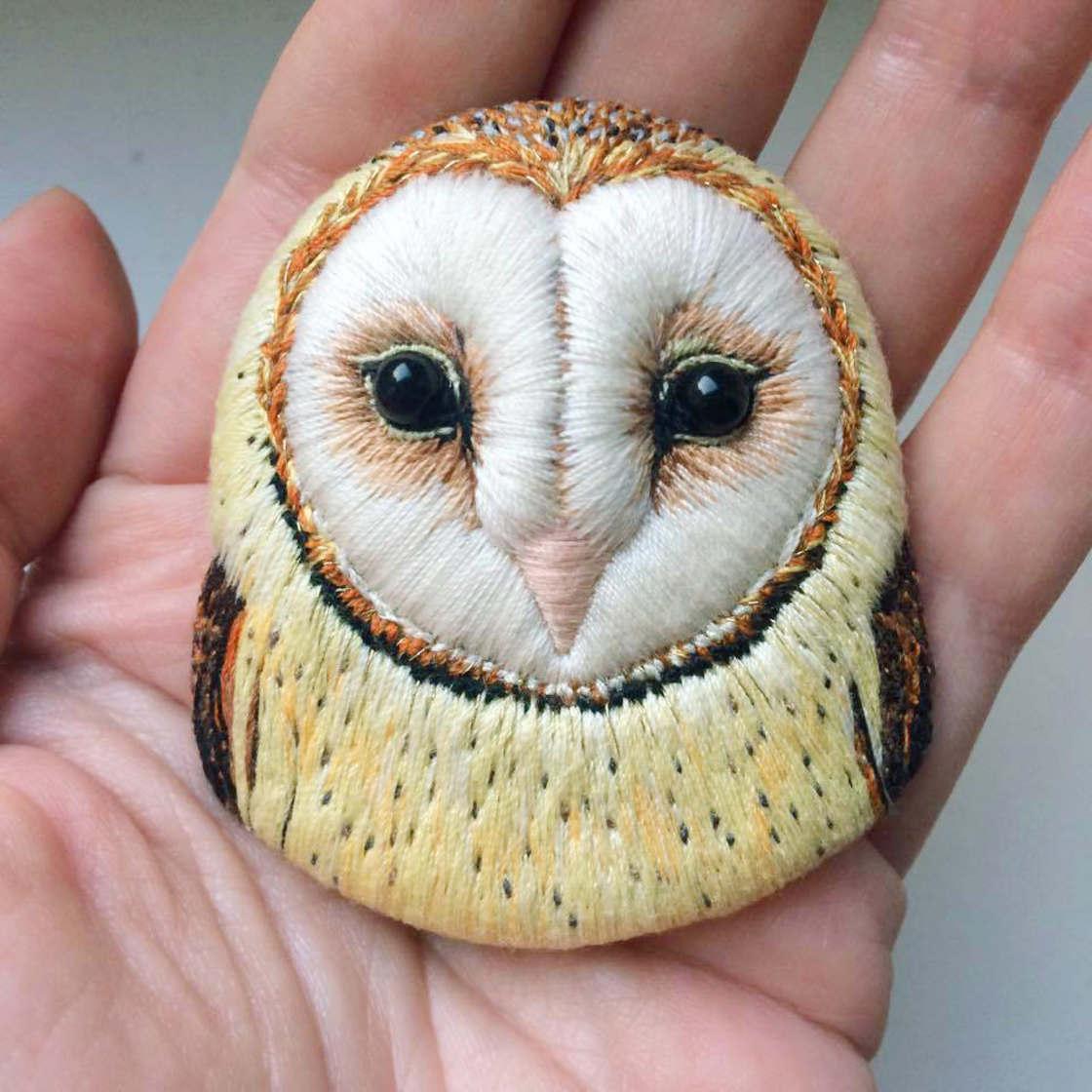 The delicate embroidered birds of Paulina Bartnik