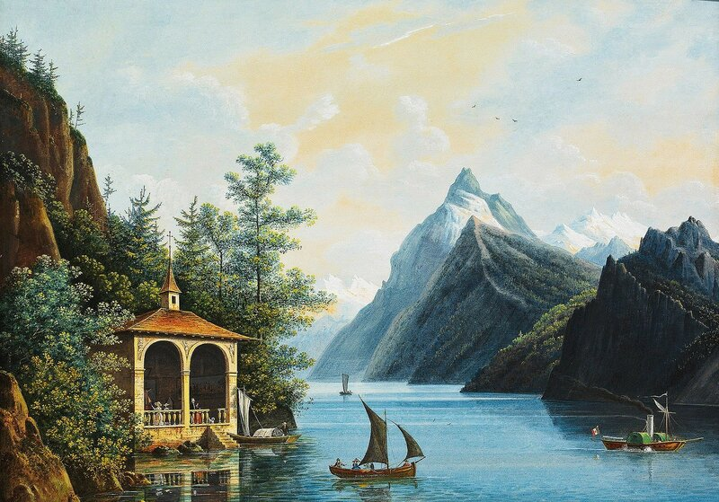 1 Chapel on the Shore of a Lake in Switzerland, by Hendrik Johannes Knip.jpg