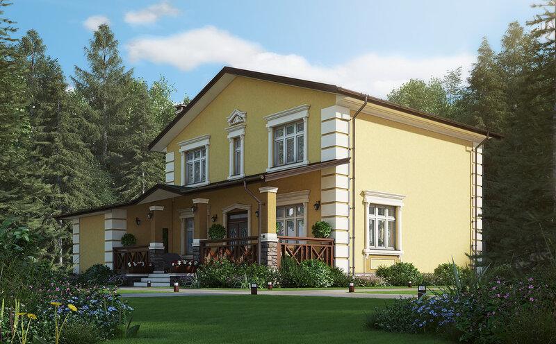 проект загородного дома, внешний вид, визуализация