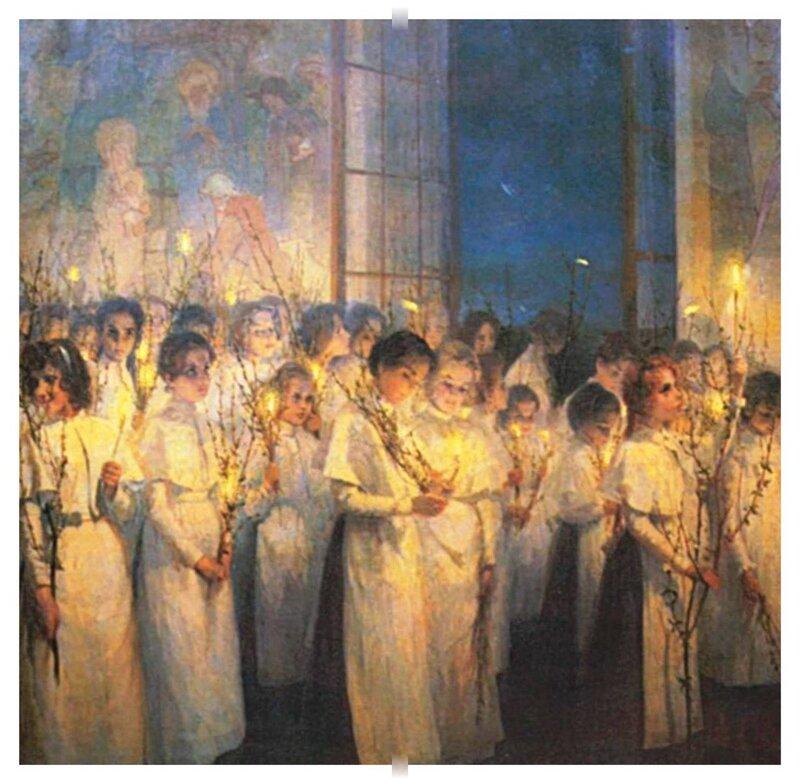Серафима Блонская.(1870-1947) «Девочки. Вербное воскресенье». 1900. Blonskaya Verbn voskres .jpg