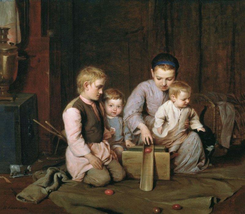 Н. А. Кошелев. Дети, катающие пасхальные яйца. 1855