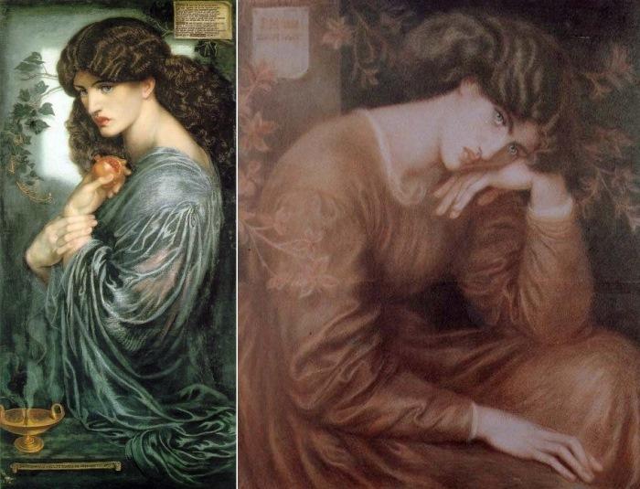Данте Габриэль Россетти. Слева – Прозерпина, 1874. Натурщица – Джейн Берден. Справа – Портрет Дж