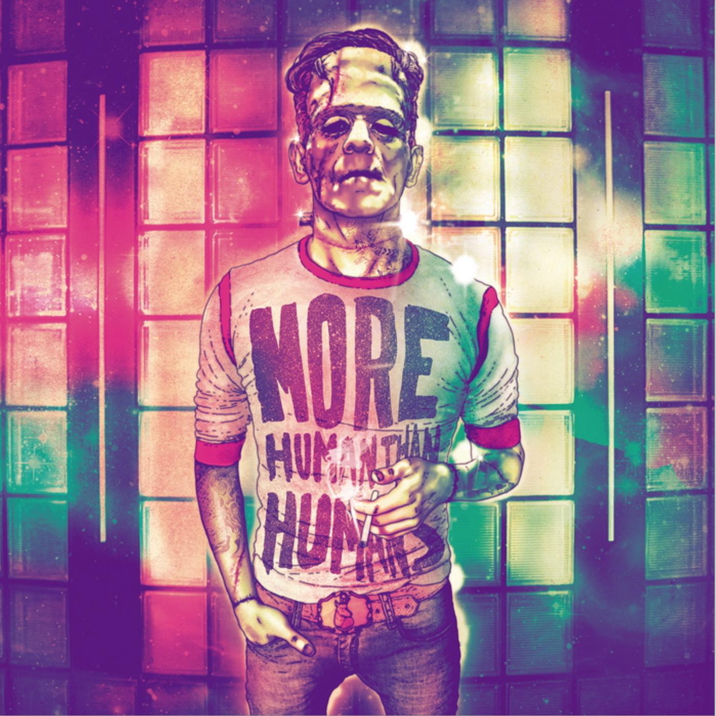 Франкенштейн Надпись на футболке: «Человечнее людей»