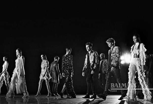 Discover Balmain 's Fall Winter 2016.17 advertising campaign featuring Kanye West , Kim Kardas