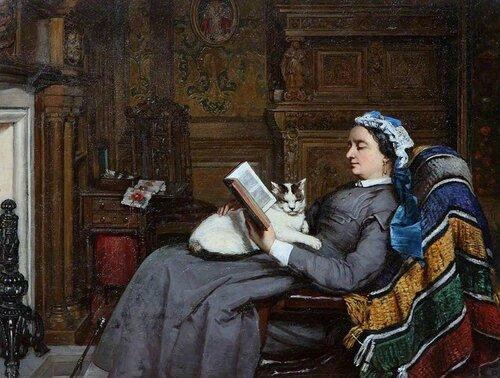 Patrick Allan-Fraser - Elizabeth Allan-Fraser Seated, Reading with a Cat