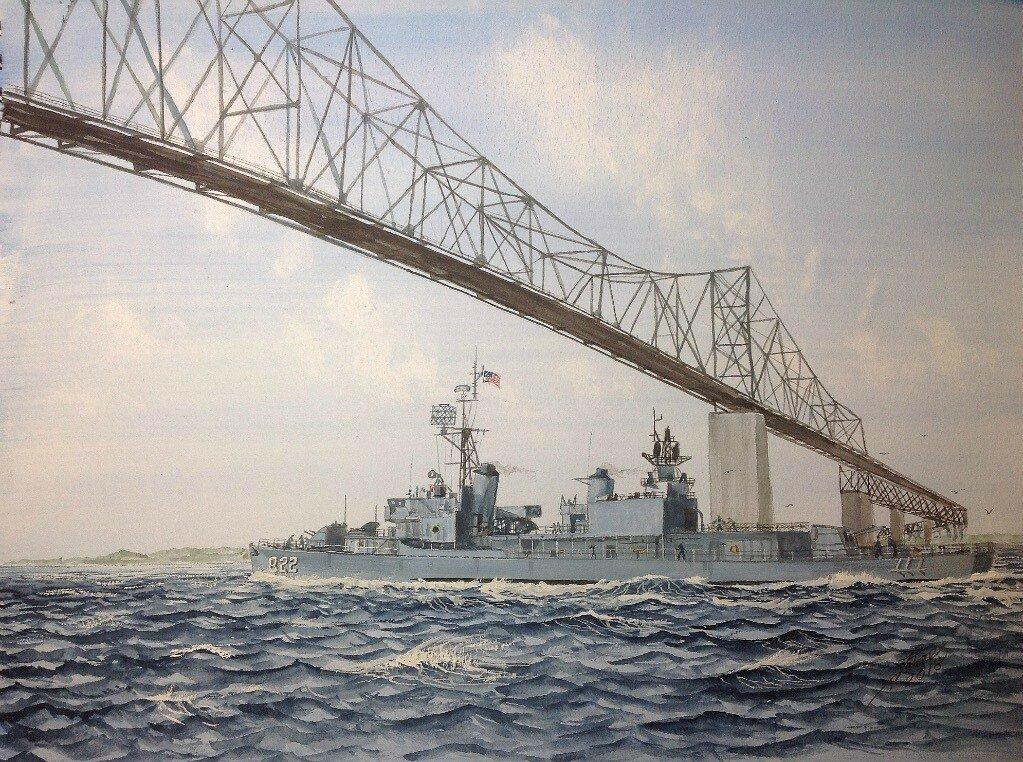 USS Robert H McCard. Leaving Charleston Naval Base with the old Cooper River Bridge